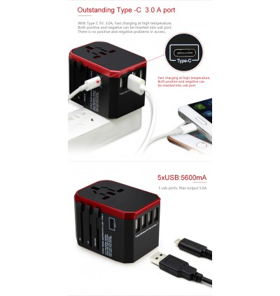 5.6A,4 usb +1 Type C,2000W Travel Adapter Plug Adapter , Travel Adapter UK to Europe, USA Travel Adapter, Aus Travel Adapter, Universal Travel Adapter, USB Travel Adapter (Red Line , 4 USB + Type C)