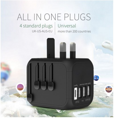 Universal Travel Adapter 5A MAX 550W Fast Charging Smart IC chipInternational Wall Charger With 3 USB, 1 Type-C, 1 AC Power Port For US, EU, AUS, UK, Covers 150+ Countries, Black