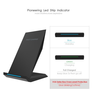 [Qi Certificate] Auto Disconnect Wireless Charger LED FlatShip Design