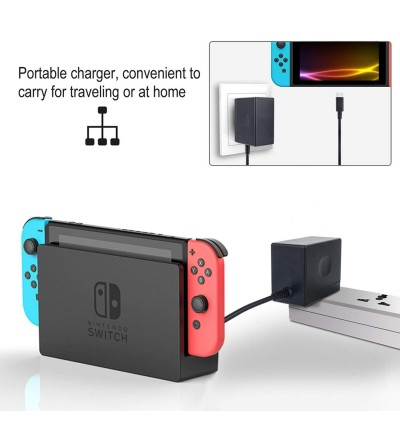 [100% Ori] YCC AC Adapter Charger for Nintendo Switch Power  15V 2.6A Fast Charging