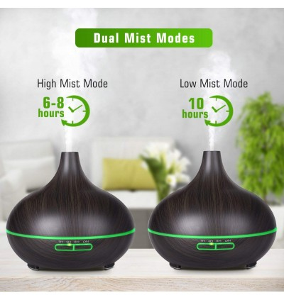 [FREE 12PCS OIL] WOOD DECO DESIGN 7 LED DIFFUSER HUMIDIFIER AROMATHERAPY
