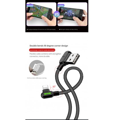 100% ORIGINAL MCDODO 1.8M GAMING CABLE 90 DEGREE L STYLE TYPE C & IPHONE & MICRO USB