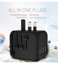 [4 USB & 5A] ALL IN 1 UNIVERSAL TRAVEL ADAPTER MAX 550W FAST CHARGING SMART IC CHIP INTERNATIONAL WALL CHARGER WITH 4 USB AC POWER PORT