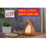 [FREE 12PCS OIL] WOOD LEAF DECO DESIGN 7 LED DIFFUSER HUMIDIFIER AROMATHERAPY