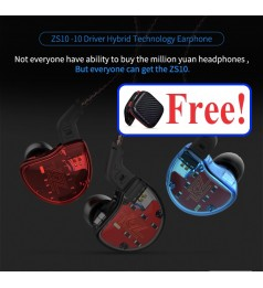 [4BA+1DD]KZ ZS10 Headphone 10 Driver Hifi Ear Phone 4 Balance Armature MIC