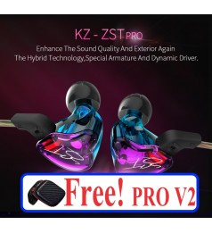 [1BA+1DD]KZ ZST PRO 2 VERSION HEADPHONE HIFI EARPHONE 2 Driver 3.5MM WITH MIC