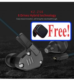 [2BA+2DD]KZ ZS6 HEADPHONE 8 DRIVER HIFI EAR PHONE 2 BALANCE ARMATURE MIC