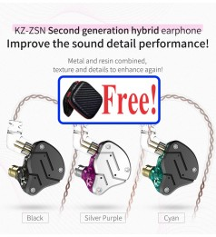 [DUAL DRIVER]KZ ZSN HYBRID DYNAMIC HIFI IN EAR EARPHONE WITH MIC