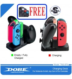 [100% ORI]DOBE 4 JOY-CON & PRO CONTROLLER CHARGING DOCK AUTO DISCONNECT