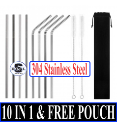 [10 in 1]304 Stainless Steel Straw Set Metal drinking Reusable Straw Free Black Pouch