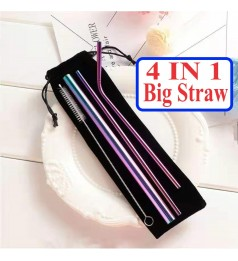 [4 IN 1]Big Size 304 STAINLESS STEEL STRAW SET METAL DRINKING REUSABLE STRAW FREE BLACK POUCH