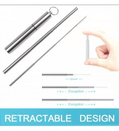 [FLEXIBLE REUSABLE] STAINLESS STEEL STRAW SET METAL DRINKING REUSABLE RETRACT ABLE STRAW