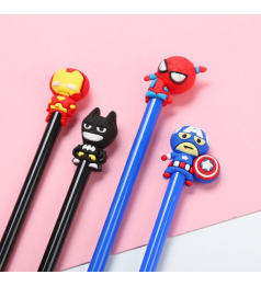 [Ready Stock] 1pcs Gel Pen cartoon Captain America Spider Man Iron Man Batman