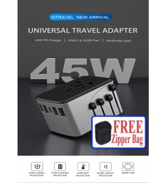 [6.5A]UNIVERSAL TRAVEL ADAPTER  MAX 2000W FAST CHARGING SMART  WALL CHARGER WITH 1 AC POWER PORT FOR US EU COVERS 150+ COUNTRIES