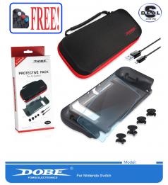 [DOBE Protective 5 in 1]Dobe Starter Kits 5 in 1 for Nintendo Switch Screen Protector & TPU Casing