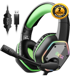 [7.1 + Noise Cancellation] EKSA E1000 USB Gaming Headset PS4 Headphones with Mic & RGB Over Ear Headphones PC,PS4,Laptop