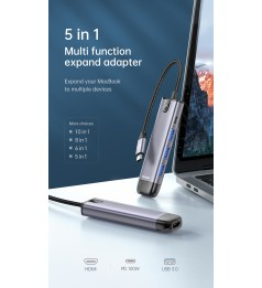 Mcdodo 5 IN 1 USB3.0 Hub 4k HDMI For Type C Device Macbook Huawei Samsung Xiaomi Honor Asus Oppo Device
