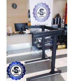 Triple Screen Stand Aluminum Profile TV Stand & Rack 32 Inch to 65 Inch Flexible Vesa Mount Single & Triple Screen Sim Racing