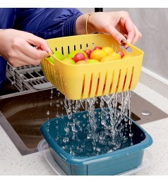 Double Layer Drain Basket With Lid Multifunctional Square Refrigerator Crisper Household Dish Washing kitchen storage