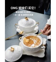 网红燕窝碗甜品碗双耳小号带盖炖盅银耳汤碗精致高档粥碗餐具蒸蛋