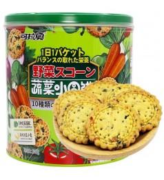 【 LOW FAT BISCUIT 】蔬菜小圆饼桶装野菜网红罐装果蔬小圆饼干日式十种混合蔬饼