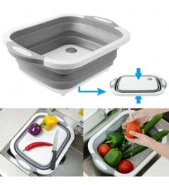 Multifunction 3 IN 1 Foldable Sink Cutting Board Drain Basket Chopping Board